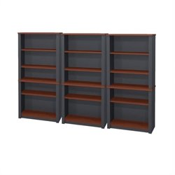 Bestar Prestige + Wood Wall Bookcase in Bordeaux & Graphite