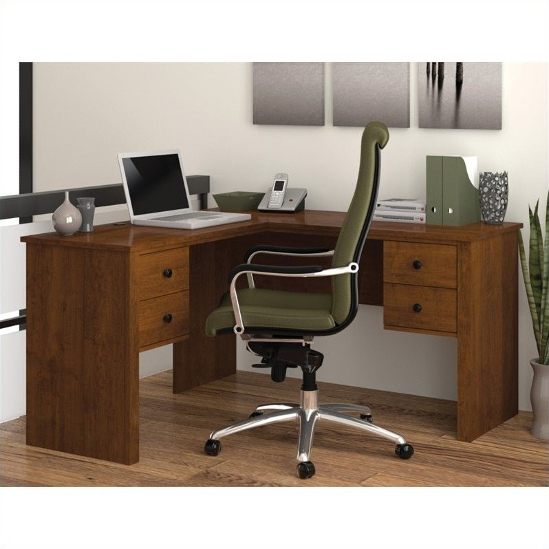 Bestar Somerville L Shaped Desk In Tuscany Brown 45420 63