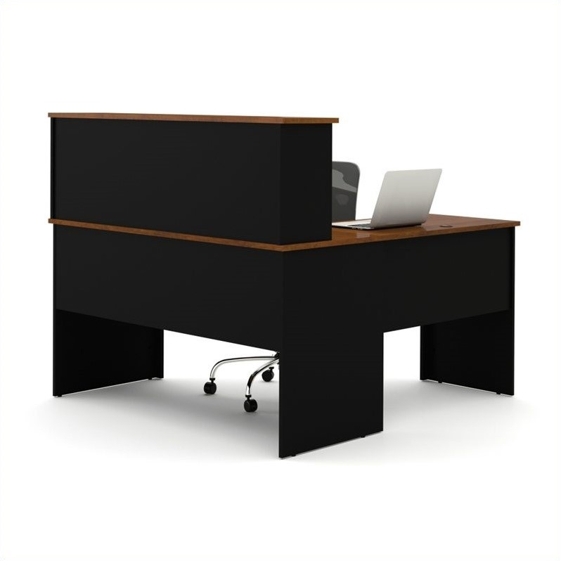 Bestar Somerville L-Shaped Desk with Hutch in Black and Tuscany Brown