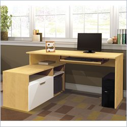 Bestar Modula L-Shape Workstation Desk in Secret Maple and White