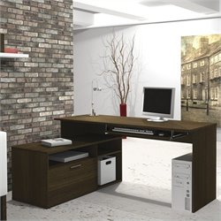Bestar Modula L-Shape Workstation Desk in Tuxedo