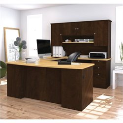 Bestar Manhattan U-Shape Executive Desk in Secret Maple and Chocolate