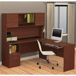 Bestar Flame L-Shape Computer Desk in Cognac Cherry