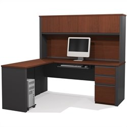 Bestar Prestige + 5-Piece L-Shape Desk in Bordeaux and Graphite