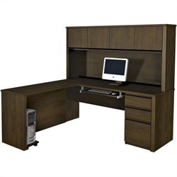 Bestar Prestige  5-Piece L-Shape Desk in Chocolate