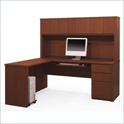 Bestar Prestige + 5-Piece L-Shape Desk in Cognac Cherry