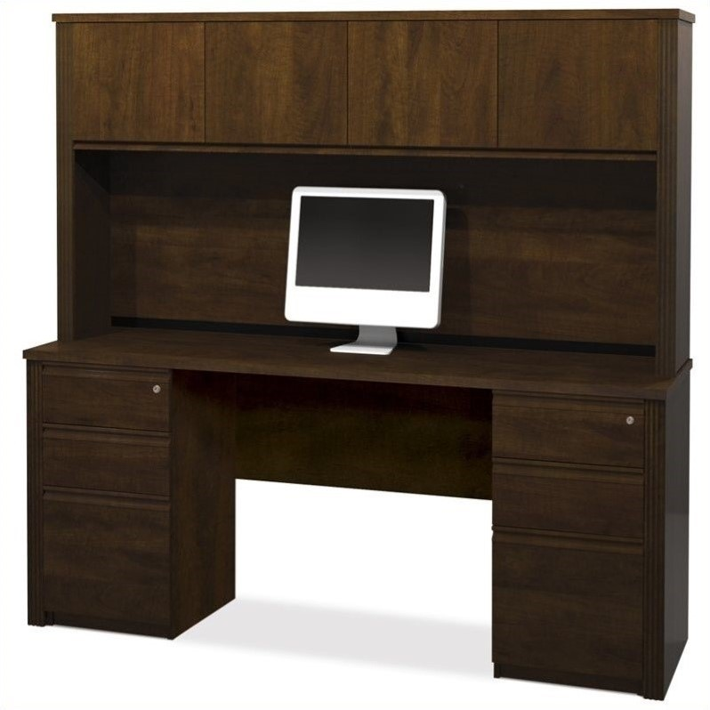 Prestige + 4-Piece Desk with Assembled Pedestals in Chocolate