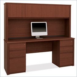 Bestar Prestige  4-Piece Desk with Assembled Pedestals in Cognac Cherry