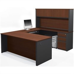 Bestar Prestige + 7-Piece U-Shape Desk in Bordeaux and Graphite