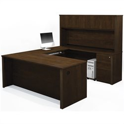 Bestar Prestige + 7-Piece U-Shape Desk in Chocolate