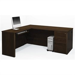 Bestar Prestige + 4-Piece L-Shape Desk in Chocolate