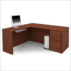 Bestar Prestige + 4-Piece L-Shape Desk in Cognac Cherry