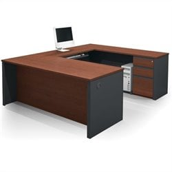 Bestar Prestige + 5-Piece U-Shape Desk in Bordeaux and Graphite with Assembled Pedestal