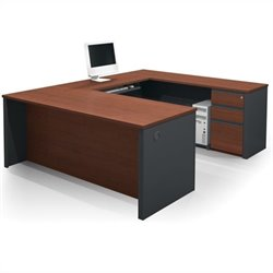 Bestar Prestige + 5-Piece U-Shape Desk in Bordeaux and Graphite