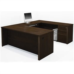 Bestar Prestige + 5-Piece U-Shape Desk in Chocolate