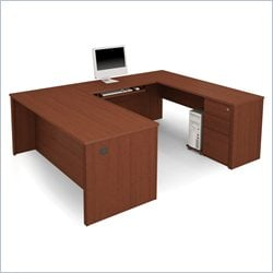 Bestar Prestige + 5-Piece U-Shape Desk in Cognac Cherry
