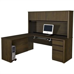 Bestar Prestige + 5-Piece L-Shape Computer Desk in Chocolate