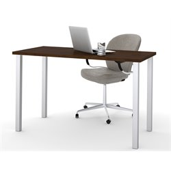 Bestar Work Table with Square Metal Leg in Chocolate