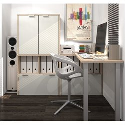 Bestar I3 L-Shape workstation with Storage Units and Hutch in Northern Maple and Sandstone