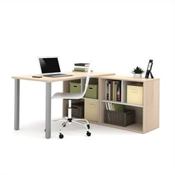 I3 by Bestar L-Shaped desk in Northern Maple and Sandstone