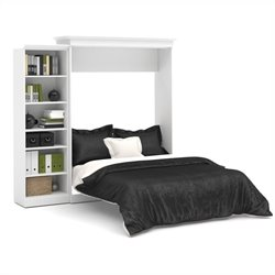 Bestar Versatile 92'' Queen Wall Bed with Storage Unit in White