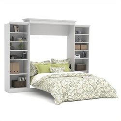 Bestar Versatile 115'' Queen Wall Bed with 2 Piece Storage Unit in White