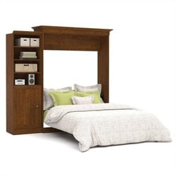 Bestar Versatile 92'' Queen Wall Bed with Door Storage Unit in Tuscany Brown