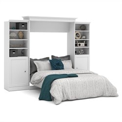 Bestar Versatile 115'' Queen Wall Bed with 2 Piece 2 Door Storage Unit in White