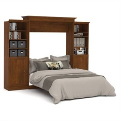 Bestar Versatile 115'' Queen Wall Bed with 2 Piece 2 Door Storage Unit in Tuscany Brown