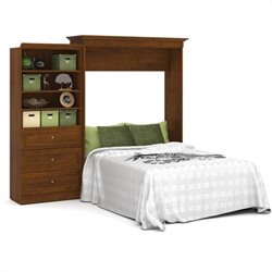 Bestar Versatile 101'' Queen Wall Bed with 3-Drawer Storage Unit Tuscany Brown