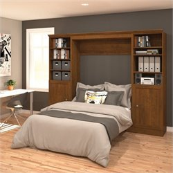 Bestar Versatile 109'' Full Wall Bed with 2 Piece 2 Door Storage Unit in Chocolate