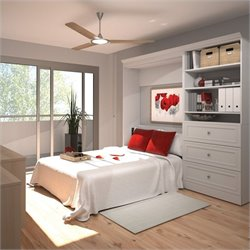 Bestar Versatile 95'' Full Wall Bed with 3-Drawer Storage Unit in White
