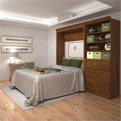 Bestar Versatile 95'' Full Wall Bed with 3-Drawer Storage Unit in Chocolate