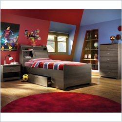 Bestar Juvenil 3 Piece Twin Captain's Bed Set in Antigua
