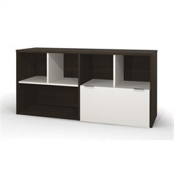 Bestar Contempo Credenza with One drawer in Tuxedo and Sandstone