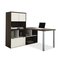 Bestar Contempo L-Shaped Desk with Hutch