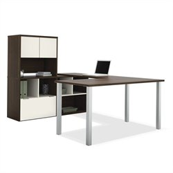 Bestar Contempo U-Shaped Desk with Hutch