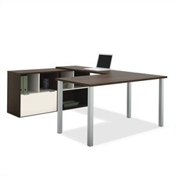 Bestar Contempo U-Shaped Desk in Tuxedo and Sandstone