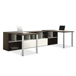 Bestar Contempo Two L-Shaped Desks Set in Tuxedo and Sandstone
