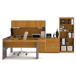 Bestar Executive U-shaped Workstation with Lateral File and Bookcase in Cappuccino Cherry and Slate