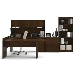 Bestar Executive U-shaped Workstation with Lateral File and Bookcase in Chocolate