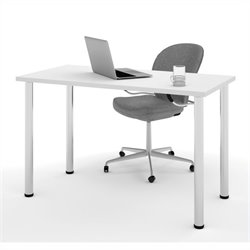 Bestar Work Surface with Round Metal Leg in White
