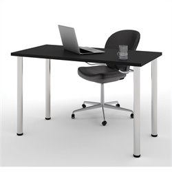 Bestar Work Surface in Black with Round Metal Leg