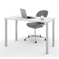 Bestar Work Surface in White with square Metal leg
