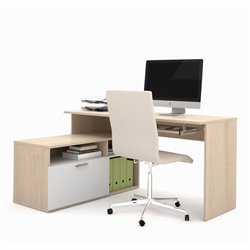 Bestar Modula L-shaped Workstation in Northern Maple and White