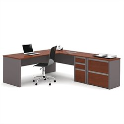 Bestar Connexion L-shaped Workstation with Lateral File in Bordeaux and Slate
