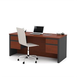 Bestar Prestige + Executive Desk with Dual Half Peds in Bordeaux and Graphite