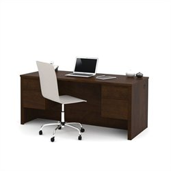 Bestar Prestige + Executive Desk with Dual Half Peds in Chocolate