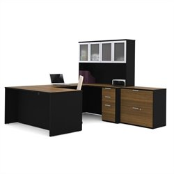 Bestar Pro-Concept U-Shaped Workstation with Lateral File in Milk Chocolate Bamboo and Black