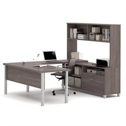 Bestar Pro-Linea U-Desk with Hutch in Bark Gray